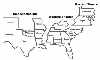 Civil War Theater Map - Civil War Battlegrounds