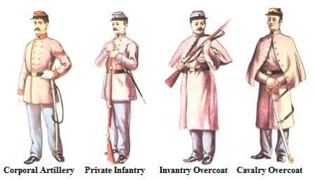 civil war uniforms: confederate soldiers *** - Civil War Uniforms Coloring Pages