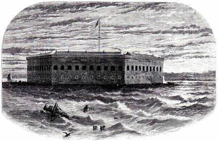 Picture of Fort Sumter, with Charleston in the background