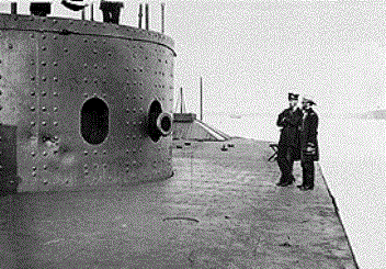 Deck and turret of U.S.S. Monitor Ironclad - Cannonball damage